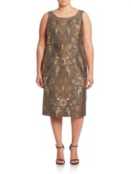 Marina Rinaldi Plus Size Dulcinea Metallic Jacquard Shift Dress Grey Multi