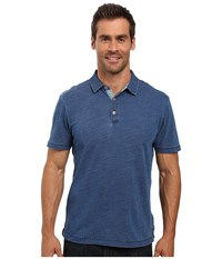True Grit Genuine Indigo Knit Short Sleeve Polo Denim Men's Short Sleeve Pullover Blue