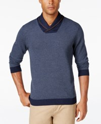 Tasso Elba Men's Big And Tall Shawl Collar Sweater Only At Macy's Navy Combo