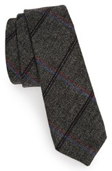 Alexander Olch Men's Heeringbone Wool Tie Dark Grey