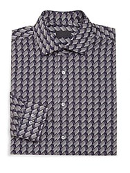 Pal Zileri Slim Chevron Pattern Shirt Black Navy