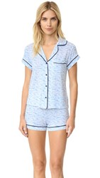 Emerson Road Goodnight's Sleep Pj Set White Blue Marled Stripe