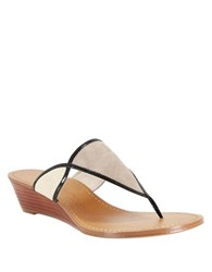 Nina Virginia Suede And Leather Thong Sandals Natural