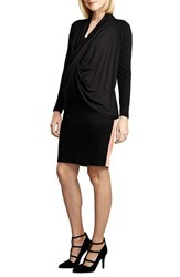 Women's Maternal America Front Drape Nursing Dress Black Blush