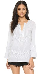 Ramy Brook Embroidered Baja Top Silver