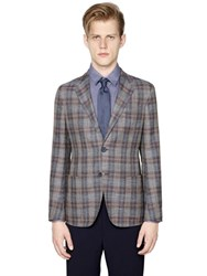 Giorgio Armani Upton Plaid Wool Silk And Linen Jacket