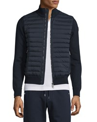 Moncler Quilted Jersey Track Jacket With Nylon Front Navy
