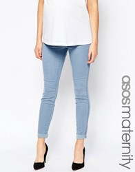 Asos Maternity Rivington Denim Jeggings In Candy Light Blue With Turn Ups Blue