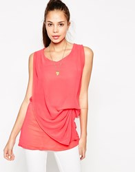 Jasmine Top With Drape Front Pink