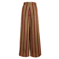 The Bee's Sneeze Mustard With Red Velvet Stripes Palazzo Trousers