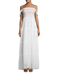 Tory Burch Smocked Off The Shoulder Beach Maxi Dress New Ivory