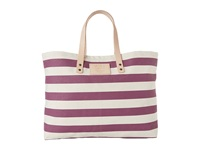 Will Leather Goods Bright Stripe Carry All Plum Tote Handbags Purple