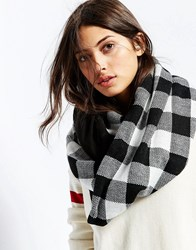 Plush Plaid Infinity Scarf Black White