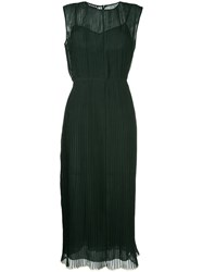 Rochas Sleeveless Pleated Dress Green