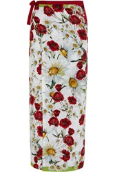 Dolce And Gabbana Printed Voile Pareo Red
