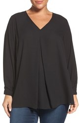 Vince Camuto Plus Size Women's Pleat Front V Neck Blouse Rich Black