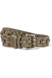 Emilio Pucci Studded Cutout Leather Belt Army Green