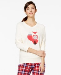Tommy Hilfiger Graphic Print Sleep Sweatshirt Egret W Fox Applique