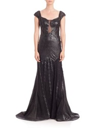 Alberto Makali Faux Leather Cap Sleeve Gown Black