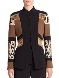 Etro Collared Colorblock Jacket Brown Black