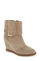 'Brynn Cuff' Wedge Bootie Women Taupe Oiled Suede