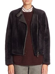 Brunello Cucinelli Reversible Shearling Bomber Jacket Graphite