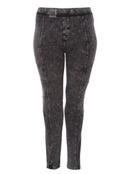 Label Lab Plus Size Acid Wash Biker Leggings Charcoal