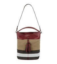 Burberry Shoes And Accessories Medium Ashby Check Tassel Bag Female Dark Pink