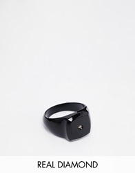 Asos Black Ring With Real Diamond