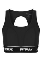 Ivy Park Logo Rib Cutout Bra By Black