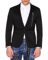 Dsquared One Button Wool Blazer With Zip Detail Black