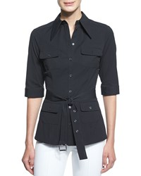 Michael Kors Elbow Sleeve Belted Utility Shirt Black