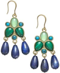 Charter Club Gold Tone Green And Blue Stone Chandelier Earrings Only At Macy's