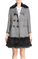 Marc Jacobs Women's Double Breasted Check Coat With Removable Faux Fur Collar