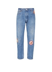 Re Done 'Re Pair Done' Embroidered Patch Relaxed Taper Jeans Blue