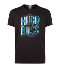 Hugo Boss Green Tee 2 Logo T Shirt Male Black
