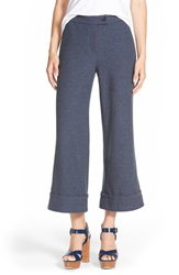Plenty By Tracy Reese Crop Flare Trousers Navy Melange