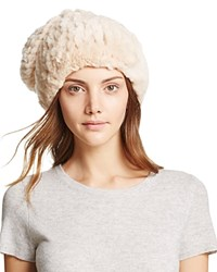 Surell Rabbit Fur Slouch Hat Beige