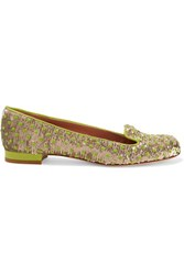 Red Valentino Redvalentino Sequin Embellished Leather Flats Gold