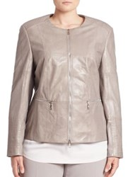 Basler Plus Size Quilted Leather Jacket Grey