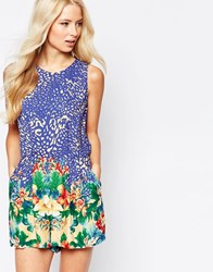 Traffic People Aina Romper In Border Floral Print Blue Floral