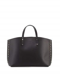 Neiman Marcus Studded Leather East West Tote Bag Black