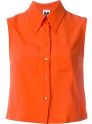 M Missoni Cropped Sleeveless Shirt Yellow And Orange
