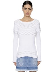 Valentino Beaded Cotton Knit Sweater