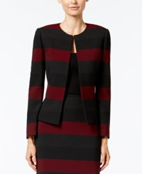Tahari By Arthur S. Levine Asl Petite Striped Jacket Red Black Grey