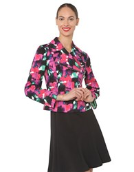 Isaac Mizrahi Multi Color Floral Print Jacket Black Multi