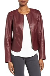 Emerson Rose Women's Zip Front Leather Jacket Burgundy Fig