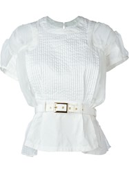 Sacai Belted Pleated Top White