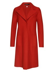 Marc Cain Boiled Wool Coat Red Ochre
