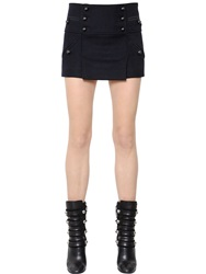 Isabel Marant Button Up Wool Flannel Skirt Navy